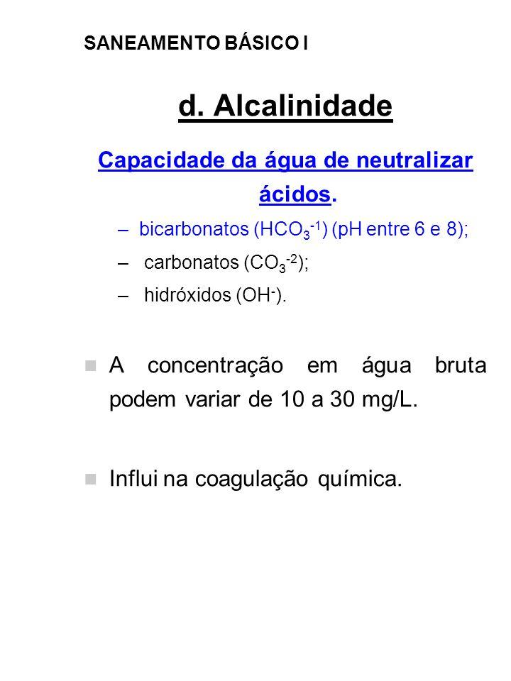 SANEAMENTO BÁSICO I d. Alcalinidade Capacidade da água de neutralizar ácidos. –bicarbonatos (HCO 3 -1 ) (pH entre 6 e 8); – carbonatos (CO 3 -2 ); – h