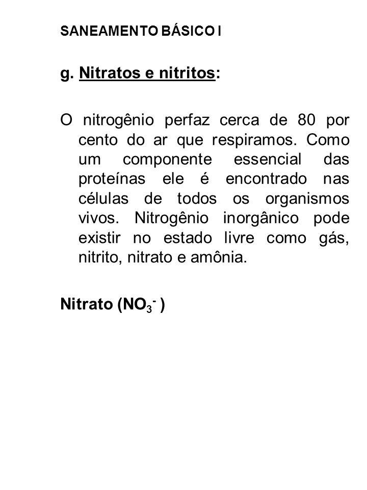 SANEAMENTO BÁSICO I g. Nitratos e nitritos: O nitrogênio perfaz cerca de 80 por cento do ar que respiramos. Como um componente essencial das proteínas