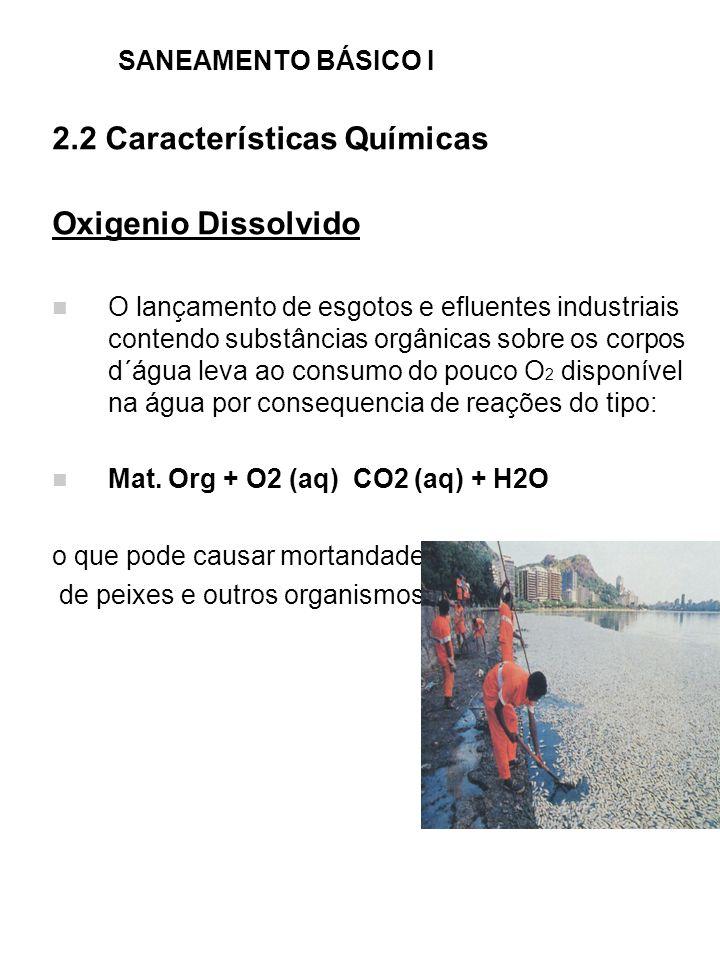 SANEAMENTO BÁSICO I 2.2 Características Químicas Oxigenio Dissolvido O lançamento de esgotos e efluentes industriais contendo substâncias orgânicas so