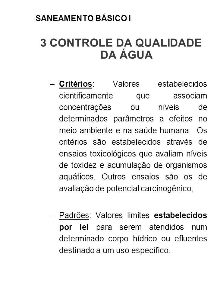 3 CONTROLE DA QUALIDADE DA ÁGUA –Critérios: Valores estabelecidos cientificamente que associam concentrações ou níveis de determinados parâmetros a ef