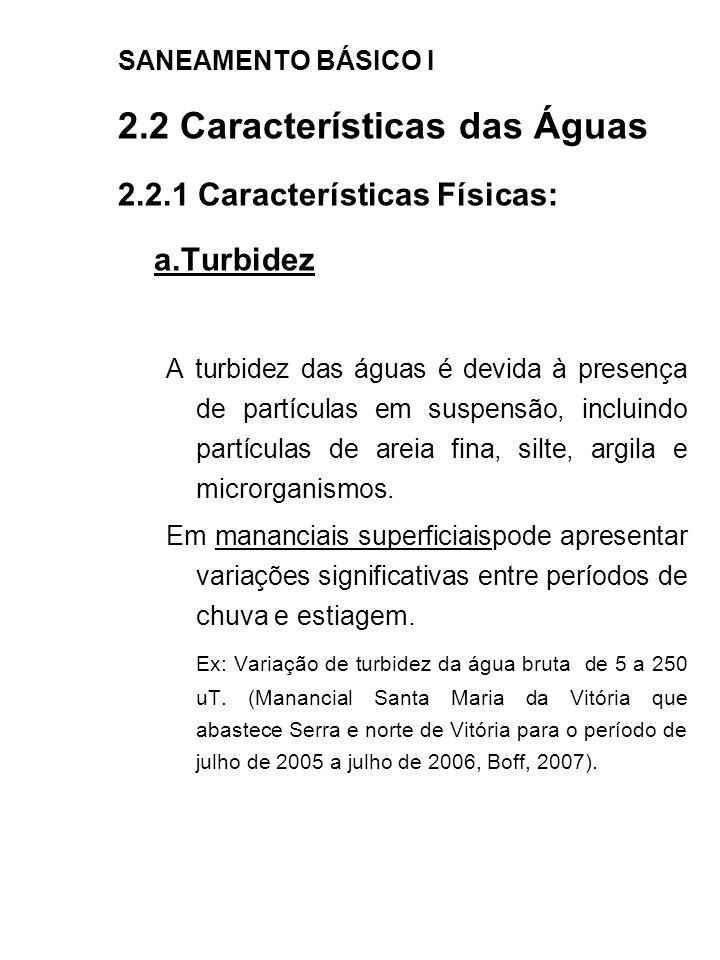 SANEAMENTO BÁSICO I 2.2 Características das Águas 2.2.1 Características Físicas: a.Turbidez A turbidez das águas é devida à presença de partículas em
