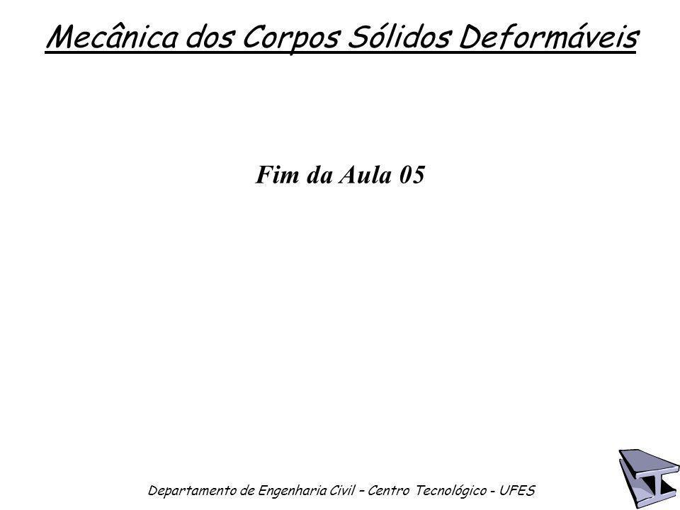 Mecânica dos Corpos Sólidos Deformáveis Departamento de Engenharia Civil – Centro Tecnológico - UFES Fim da Aula 05