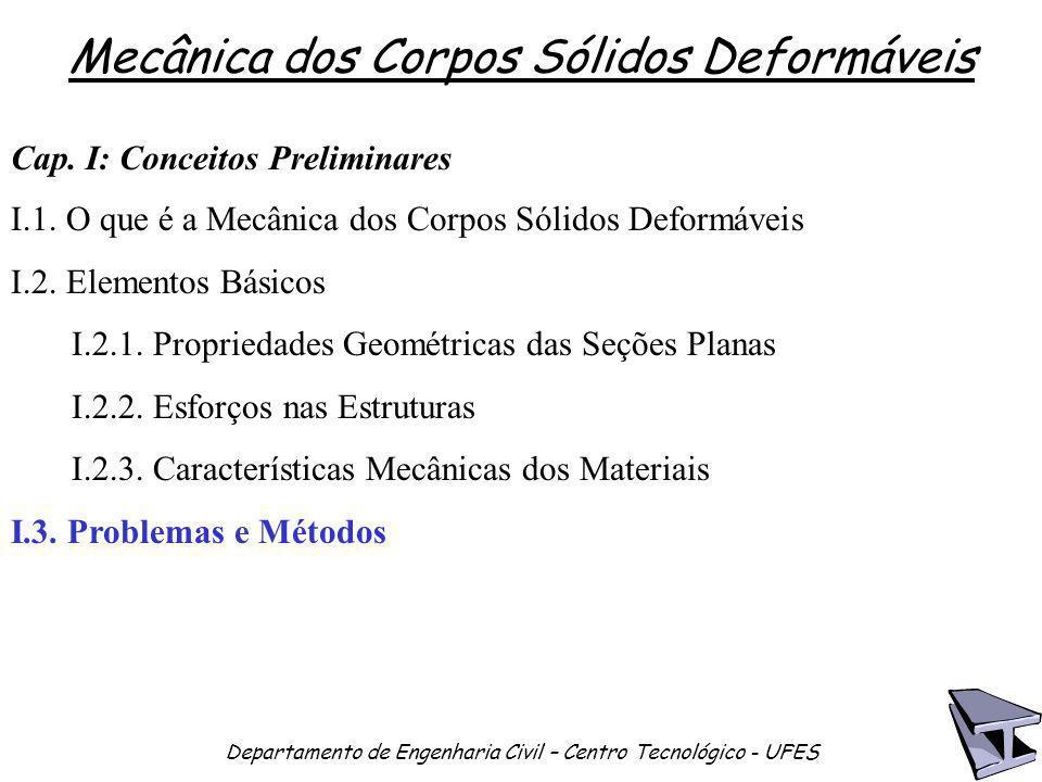 Mecânica dos Corpos Sólidos Deformáveis Departamento de Engenharia Civil – Centro Tecnológico - UFES Cap. I: Conceitos Preliminares I.1. O que é a Mec