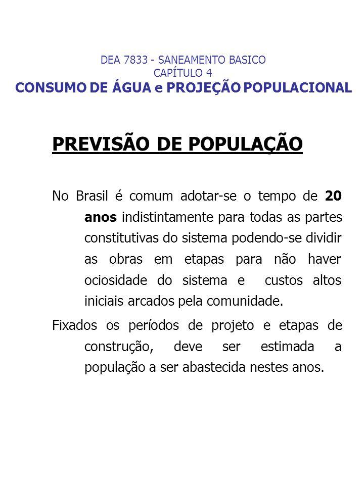 PREVISÃO DE POPULAÇÃO No Brasil é comum adotar-se o tempo de 20 anos indistintamente para todas as partes constitutivas do sistema podendo-se dividir
