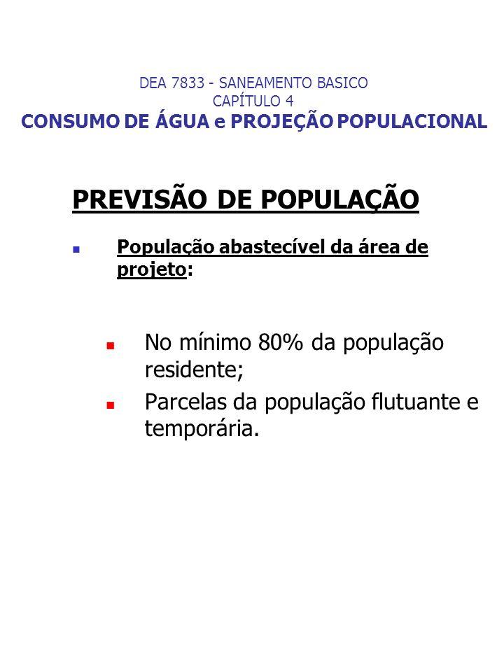 PREVISÃO DE POPULAÇÃO População abastecível da área de projeto: No mínimo 80% da população residente; Parcelas da população flutuante e temporária. DE