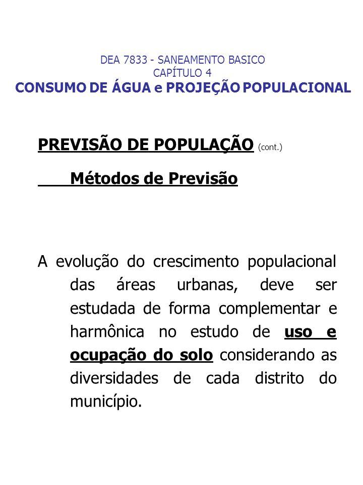 PREVISÃO DE POPULAÇÃO (cont.) Métodos de Previsão A evolução do crescimento populacional das áreas urbanas, deve ser estudada de forma complementar e
