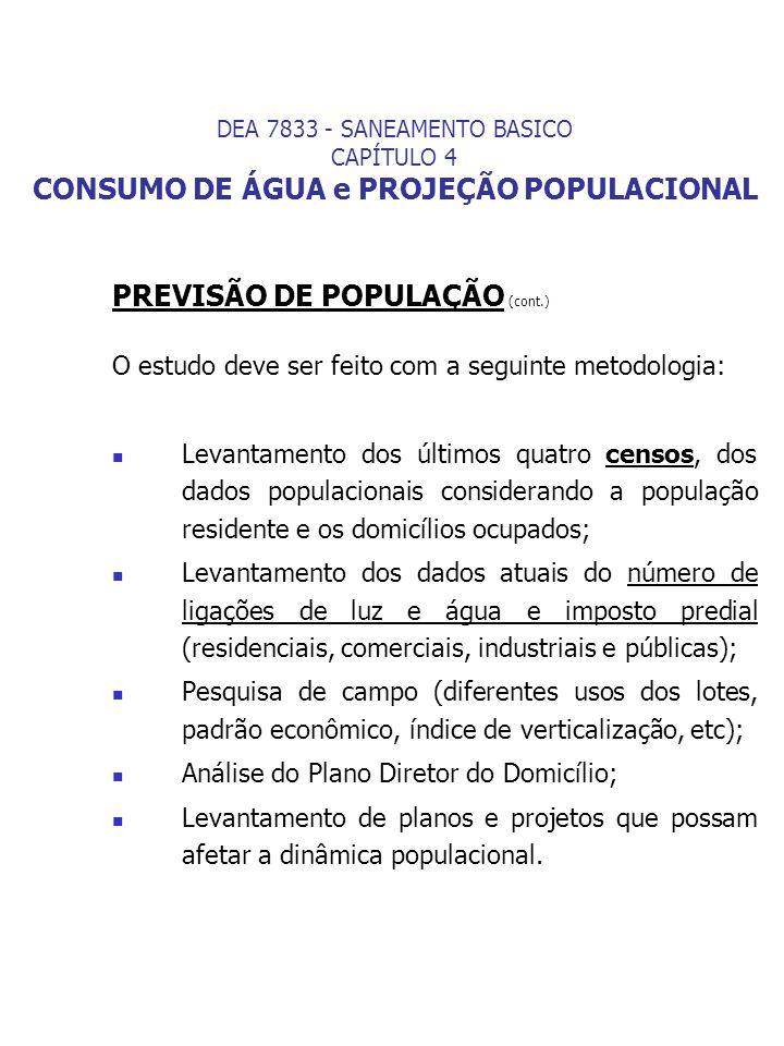 PREVISÃO DE POPULAÇÃO (cont.) O estudo deve ser feito com a seguinte metodologia: Levantamento dos últimos quatro censos, dos dados populacionais cons