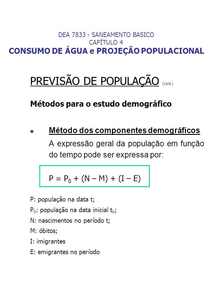 PREVISÃO DE POPULAÇÃO (cont.) Métodos para o estudo demográfico Método dos componentes demográficos A expressão geral da população em função do tempo