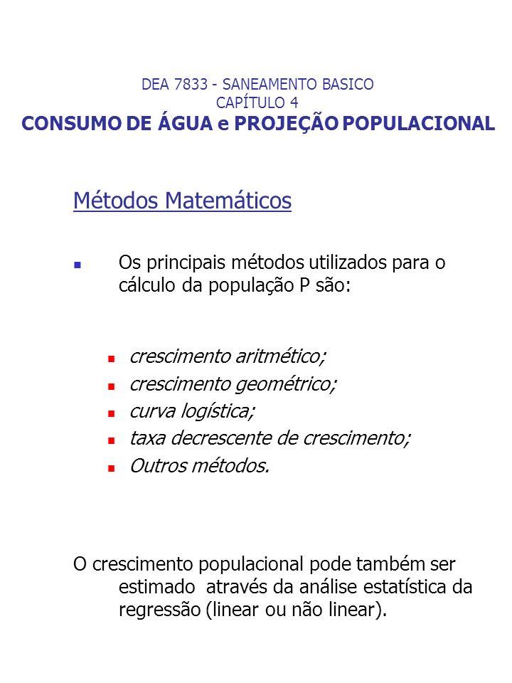 Métodos Matemáticos Os principais métodos utilizados para o cálculo da população P são: crescimento aritmético; crescimento geométrico; curva logístic