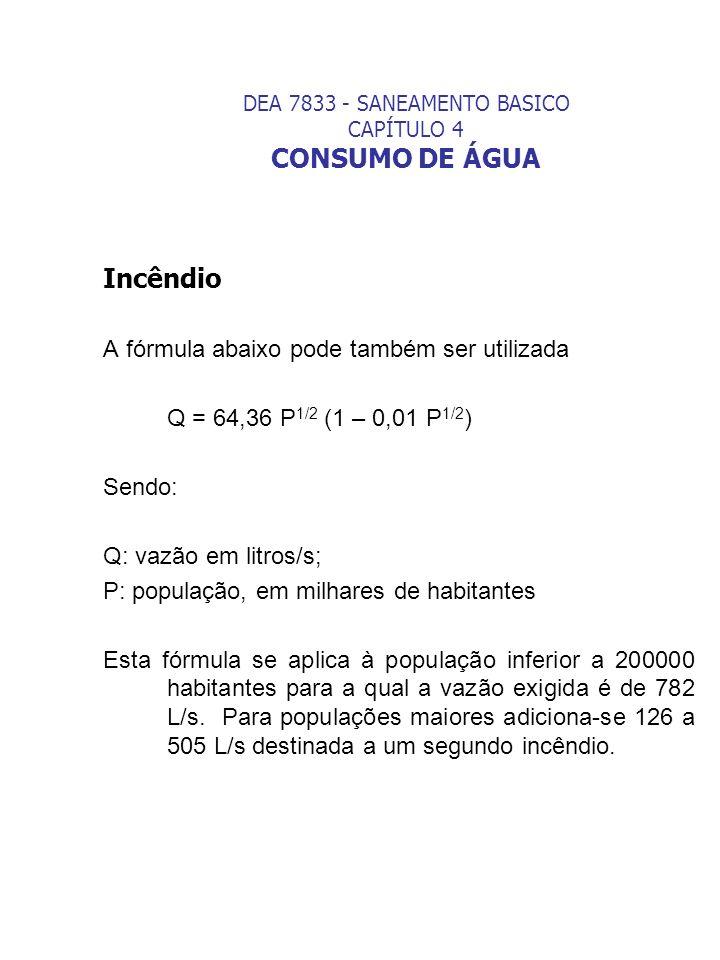 DEA 7833 - SANEAMENTO BASICO CAPÍTULO 4 CONSUMO DE ÁGUA Incêndio A fórmula abaixo pode também ser utilizada Q = 64,36 P 1/2 (1 – 0,01 P 1/2 ) Sendo: Q