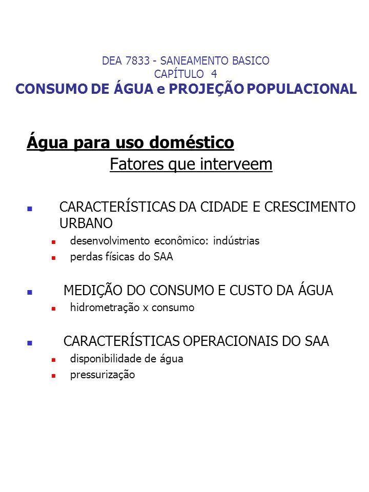 PREVISÃO DE POPULAÇÃO (cont.) Métodos para o estudo demográfico Método dos componentes demográficos A expressão geral da população em função do tempo pode ser expressa por: P = P 0 + (N – M) + (I – E) P: população na data t; P 0 : população na data inicial t 0 ; N: nascimentos no período t; M: óbitos; I: imigrantes E: emigrantes no período DEA 7833 - SANEAMENTO BASICO CAPÍTULO 4 CONSUMO DE ÁGUA e PROJEÇÃO POPULACIONAL