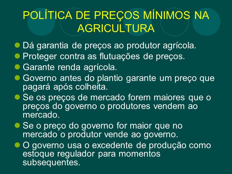 POLÍTICA DE PREÇOS MÍNIMOS NA AGRICULTURA Dá garantia de preços ao produtor agrícola. Proteger contra as flutuações de preços. Garante renda agrícola.