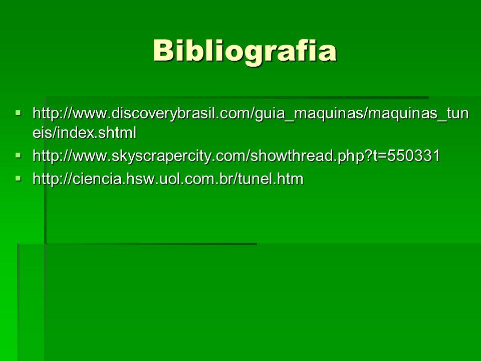 Bibliografia http://www.discoverybrasil.com/guia_maquinas/maquinas_tun eis/index.shtml http://www.discoverybrasil.com/guia_maquinas/maquinas_tun eis/index.shtml http://www.skyscrapercity.com/showthread.php?t=550331 http://www.skyscrapercity.com/showthread.php?t=550331 http://ciencia.hsw.uol.com.br/tunel.htm http://ciencia.hsw.uol.com.br/tunel.htm