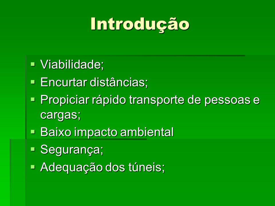 Introdução Viabilidade; Viabilidade; Encurtar distâncias; Encurtar distâncias; Propiciar rápido transporte de pessoas e cargas; Propiciar rápido trans