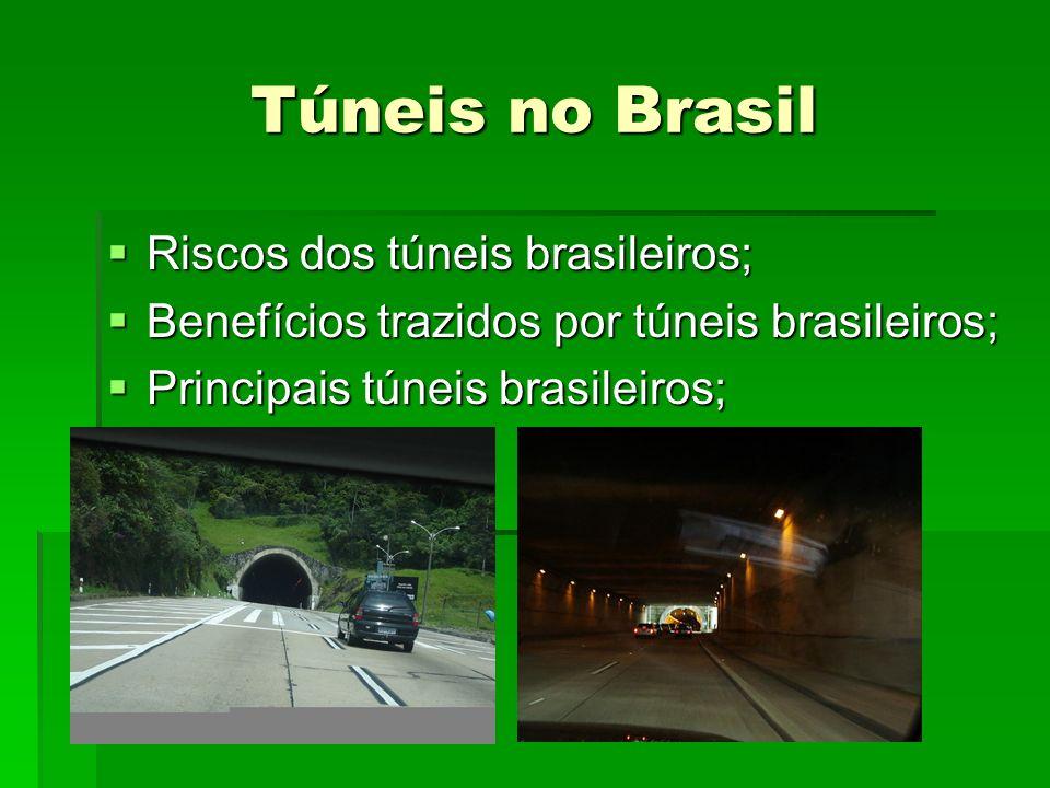 Túneis no Brasil Riscos dos túneis brasileiros; Riscos dos túneis brasileiros; Benefícios trazidos por túneis brasileiros; Benefícios trazidos por túneis brasileiros; Principais túneis brasileiros; Principais túneis brasileiros;
