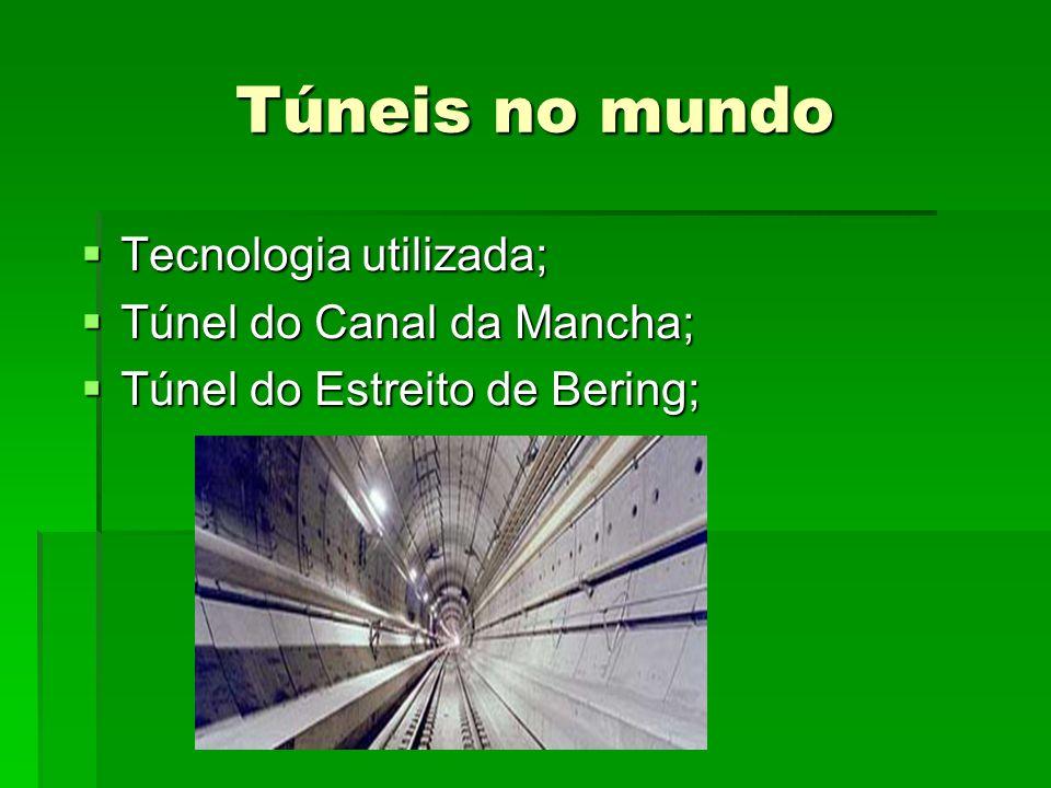 Túneis no mundo Tecnologia utilizada; Tecnologia utilizada; Túnel do Canal da Mancha; Túnel do Canal da Mancha; Túnel do Estreito de Bering; Túnel do