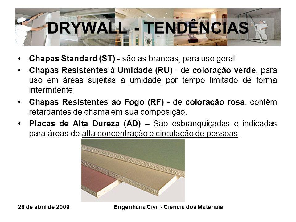 DRYWALL - TENDÊNCIAS Chapas Standard (ST) - são as brancas, para uso geral. Chapas Resistentes à Umidade (RU) - de coloração verde, para uso em áreas
