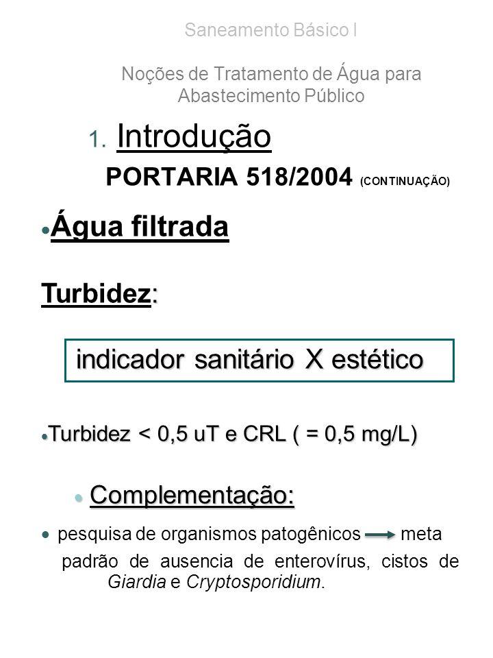 Saneamento Básico I Noções de Tratamento de Água para Abastecimento Público 1. Introdução PORTARIA 518/2004 (CONTINUAÇÃO) Água filtrada : Turbidez: in