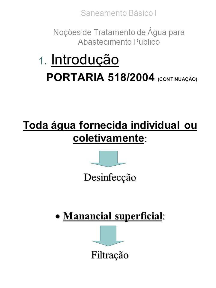 Saneamento Básico I Noções de Tratamento de Água para Abastecimento Público 1. Introdução PORTARIA 518/2004 (CONTINUAÇÃO) : Toda água fornecida indivi