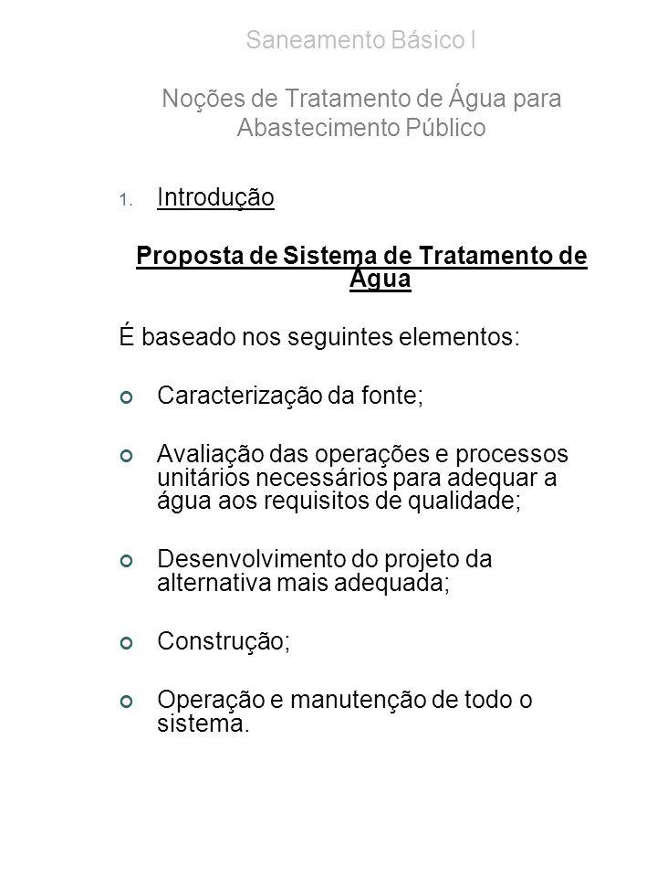 1. Introdução Proposta de Sistema de Tratamento de Água É baseado nos seguintes elementos: Caracterização da fonte; Avaliação das operações e processo