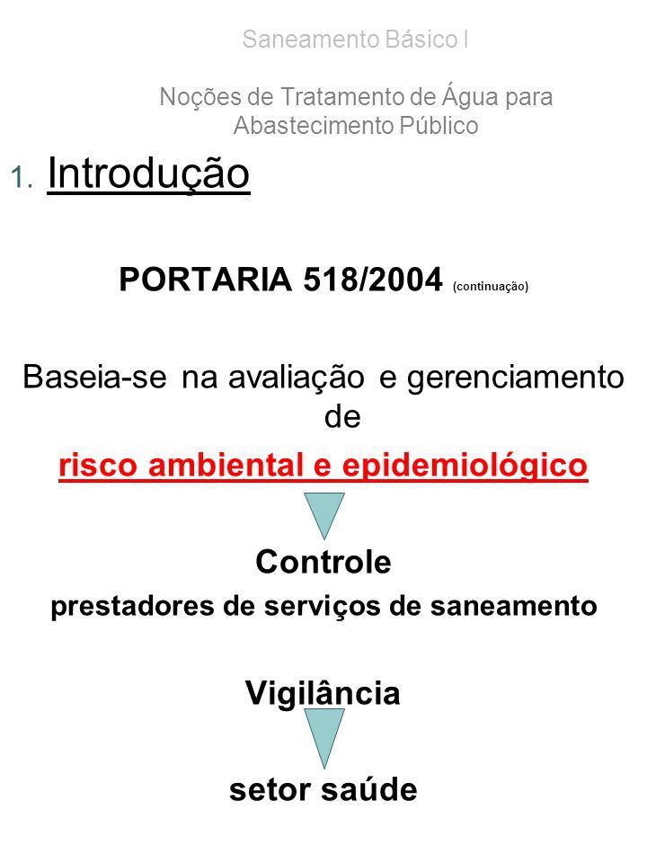 1. Introdução PORTARIA 518/2004 (continuação) Baseia-se na avaliação e gerenciamento de risco ambiental e epidemiológico Controle prestadores de servi