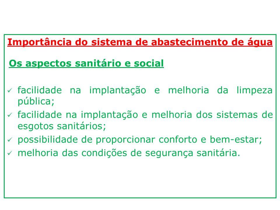 Importância do sistema de abastecimento de água Os aspectos sanitário e social facilidade na implantação e melhoria da limpeza pública; facilidade na
