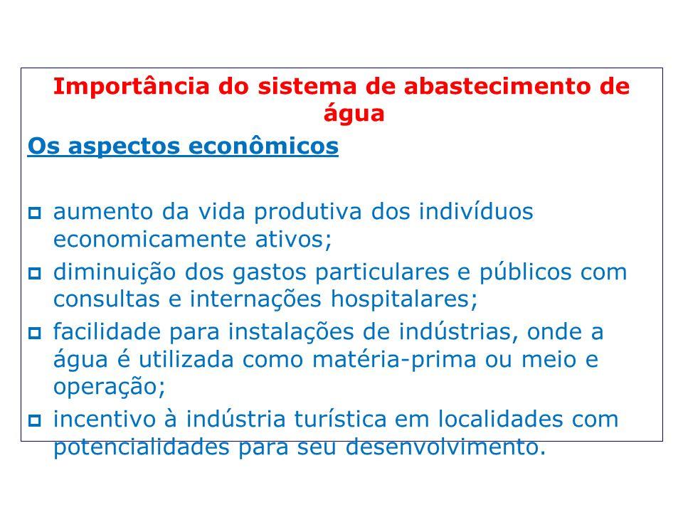 Importância do sistema de abastecimento de água Os aspectos econômicos aumento da vida produtiva dos indivíduos economicamente ativos; diminuição dos