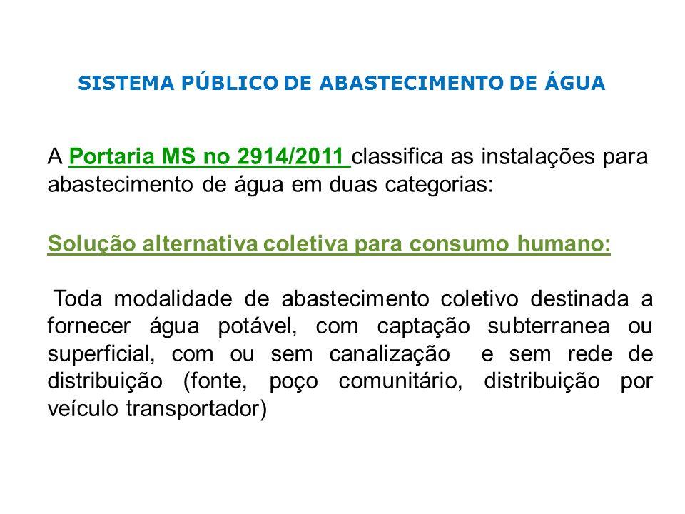 SISTEMA PÚBLICO DE ABASTECIMENTO DE ÁGUA A Portaria MS no 2914/2011 classifica as instalações para abastecimento de água em duas categorias: Solução a