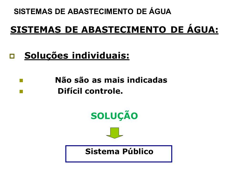 SISTEMAS DE ABASTECIMENTO DE ÁGUA SISTEMAS DE ABASTECIMENTO DE ÁGUA: Soluções individuais: Não são as mais indicadas Difícil controle. SOLUÇÃO Sistema