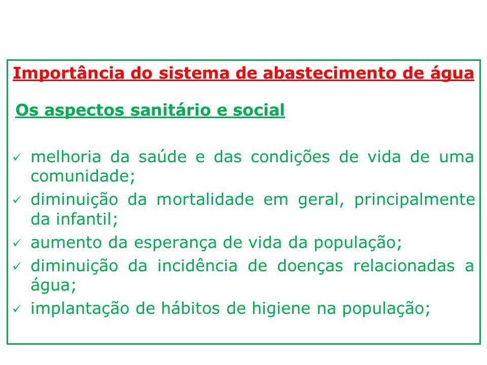 Importância do sistema de abastecimento de água Os aspectos sanitário e social melhoria da saúde e das condições de vida de uma comunidade; diminuição