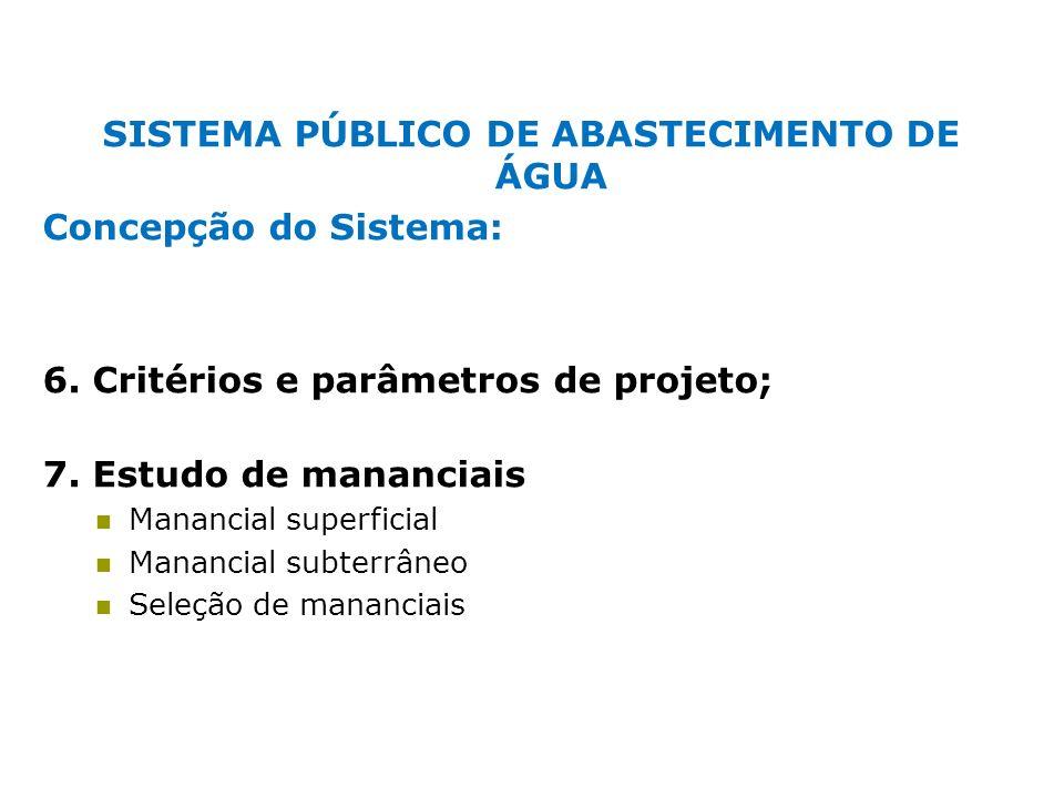 SISTEMA PÚBLICO DE ABASTECIMENTO DE ÁGUA Concepção do Sistema: 6. Critérios e parâmetros de projeto; 7. Estudo de mananciais Manancial superficial Man