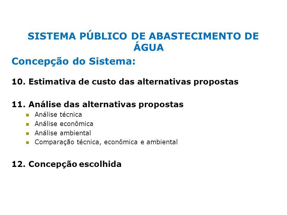 SISTEMA PÚBLICO DE ABASTECIMENTO DE ÁGUA Concepção do Sistema: 10. Estimativa de custo das alternativas propostas 11. Análise das alternativas propost