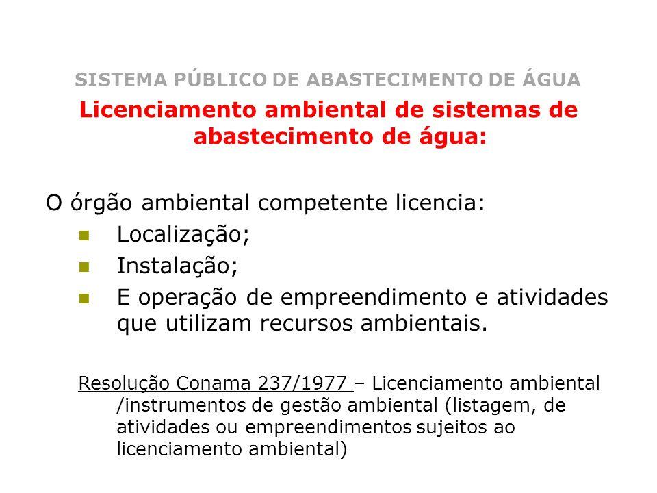 SISTEMA PÚBLICO DE ABASTECIMENTO DE ÁGUA Licenciamento ambiental de sistemas de abastecimento de água: O órgão ambiental competente licencia: Localiza