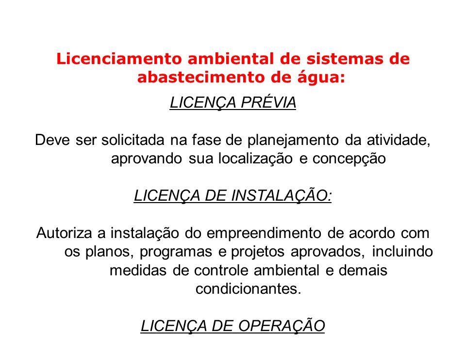 Licenciamento ambiental de sistemas de abastecimento de água: LICENÇA PRÉVIA Deve ser solicitada na fase de planejamento da atividade, aprovando sua l