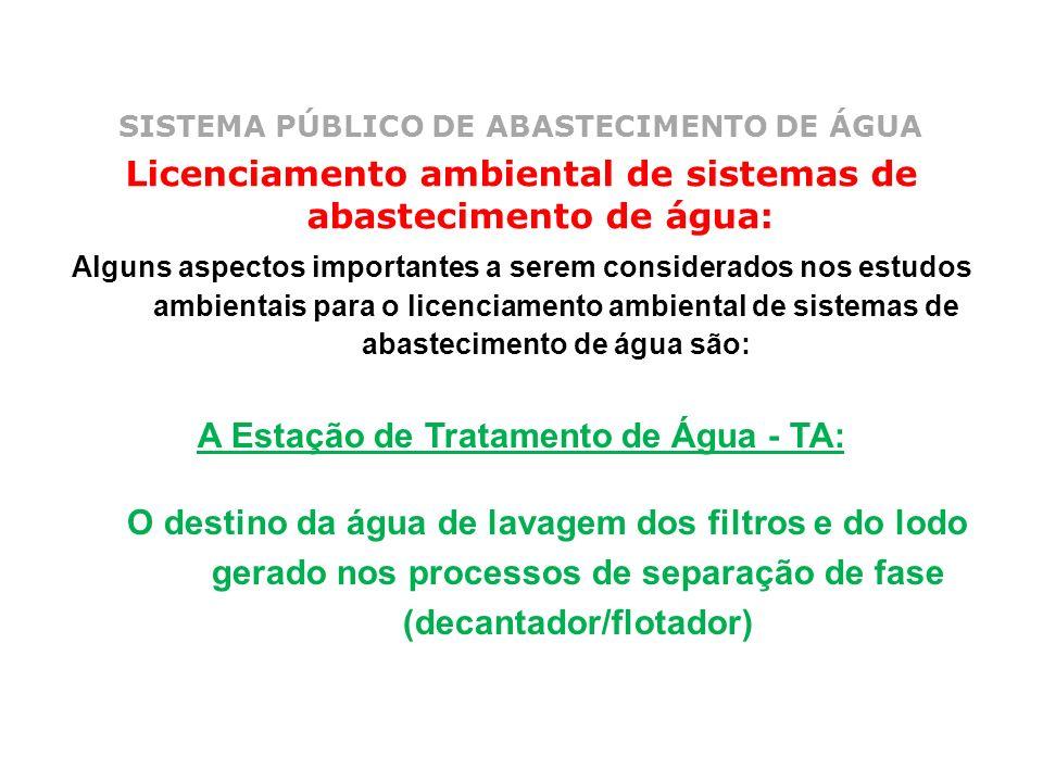 SISTEMA PÚBLICO DE ABASTECIMENTO DE ÁGUA Licenciamento ambiental de sistemas de abastecimento de água: Alguns aspectos importantes a serem considerado