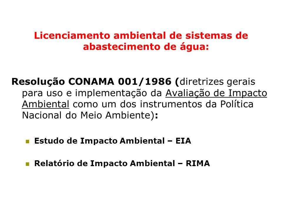 Licenciamento ambiental de sistemas de abastecimento de água: Resolução CONAMA 001/1986 (diretrizes gerais para uso e implementação da Avaliação de Im