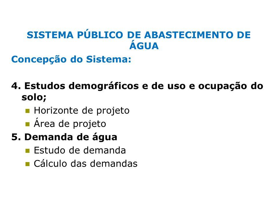 SISTEMA PÚBLICO DE ABASTECIMENTO DE ÁGUA Concepção do Sistema: 4. Estudos demográficos e de uso e ocupação do solo; Horizonte de projeto Área de proje