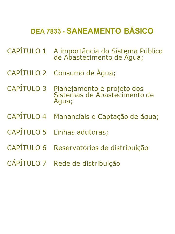 DEA 7833 - SANEAMENTO BÁSICO CAPÍTULO 1A importância do Sistema Público de Abastecimento de Água; CAPÍTULO 2Consumo de Água; CAPÍTULO 3Planejamento e projeto dos Sistemas de Abastecimento de Água; CAPÍTULO 4Mananciais e Captação de água; CAPÍTULO 5Linhas adutoras; CAPÍTULO 6Reservatórios de distribuição CÁPÍTULO 7Rede de distribuição