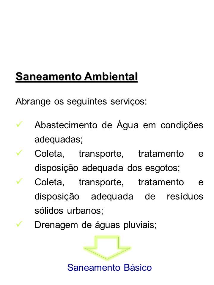 Saneamento Ambiental Abrange os seguintes serviços: Abastecimento de Água em condições adequadas; Coleta, transporte, tratamento e disposição adequada
