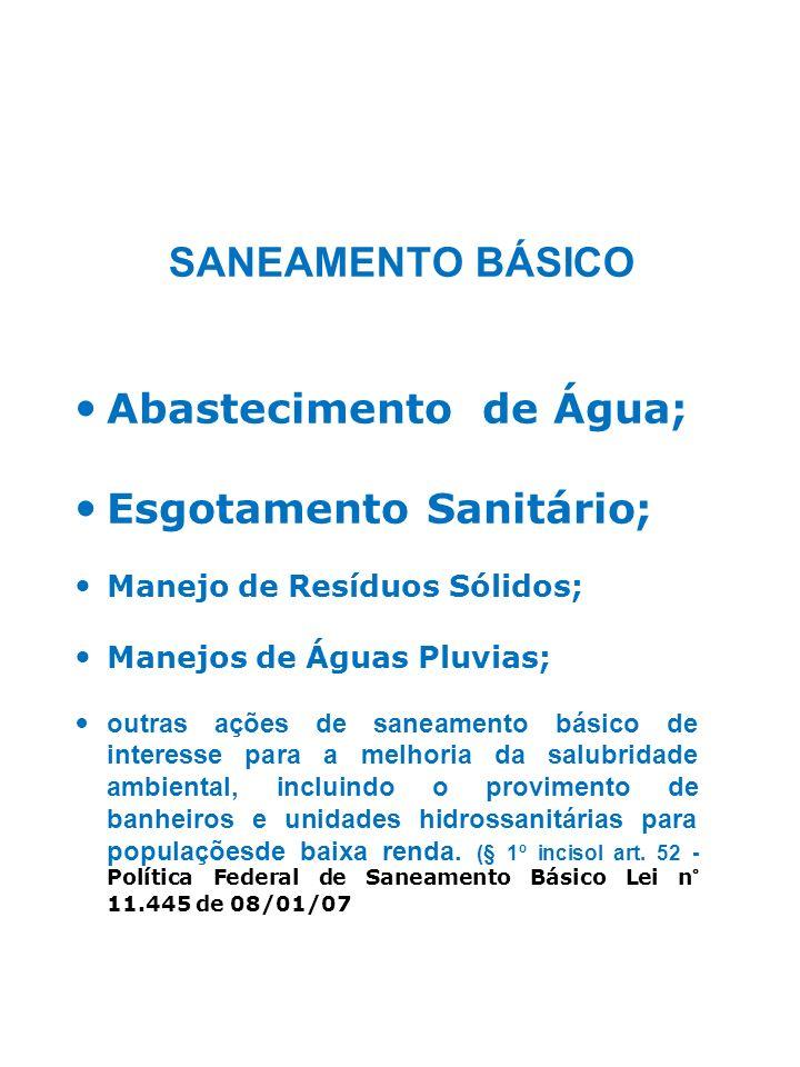 SANEAMENTO BÁSICO Abastecimento de Água; Esgotamento Sanitário; Manejo de Resíduos Sólidos; Manejos de Águas Pluvias; outras ações de saneamento básic