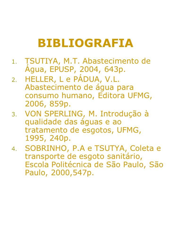 BIBLIOGRAFIA 1. TSUTIYA, M.T. Abastecimento de Água, EPUSP, 2004, 643p. 2. HELLER, L e PÁDUA, V.L. Abastecimento de água para consumo humano, Editora