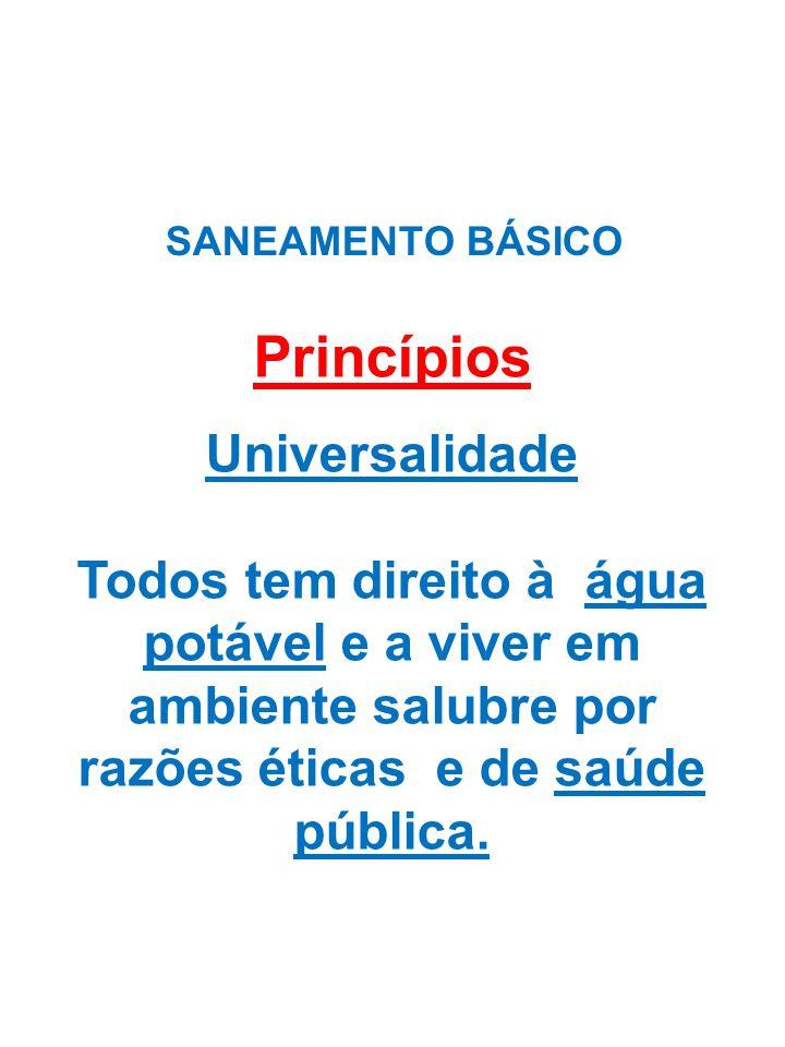 SANEAMENTO BÁSICO Princípios Universalidade Todos tem direito à água potável e a viver em ambiente salubre por razões éticas e de saúde pública.