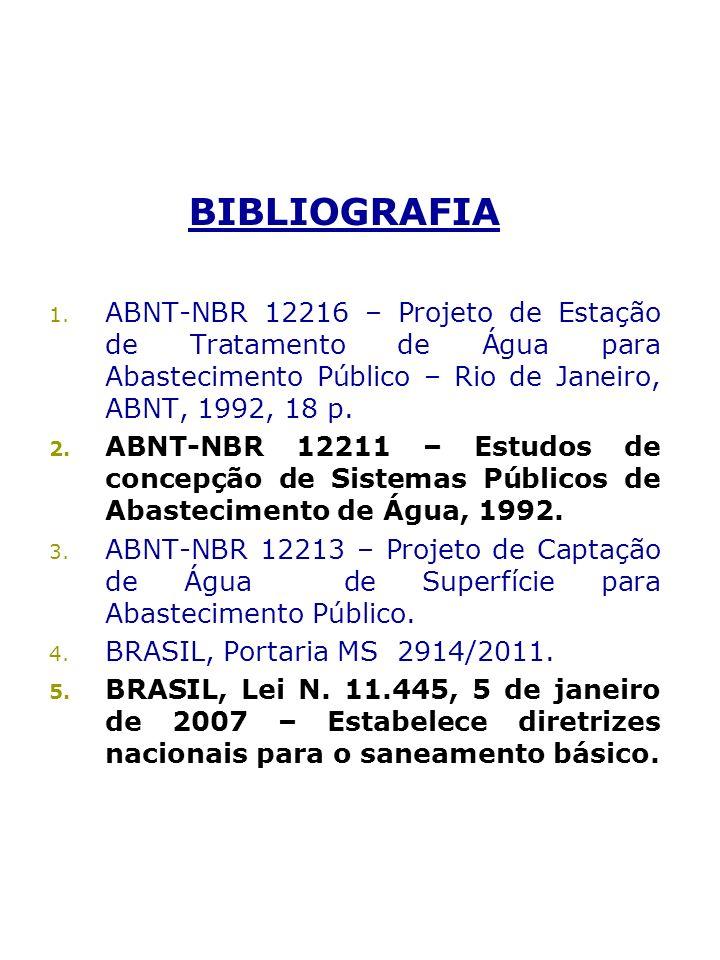 BIBLIOGRAFIA 1. ABNT-NBR 12216 – Projeto de Estação de Tratamento de Água para Abastecimento Público – Rio de Janeiro, ABNT, 1992, 18 p. 2. ABNT-NBR 1