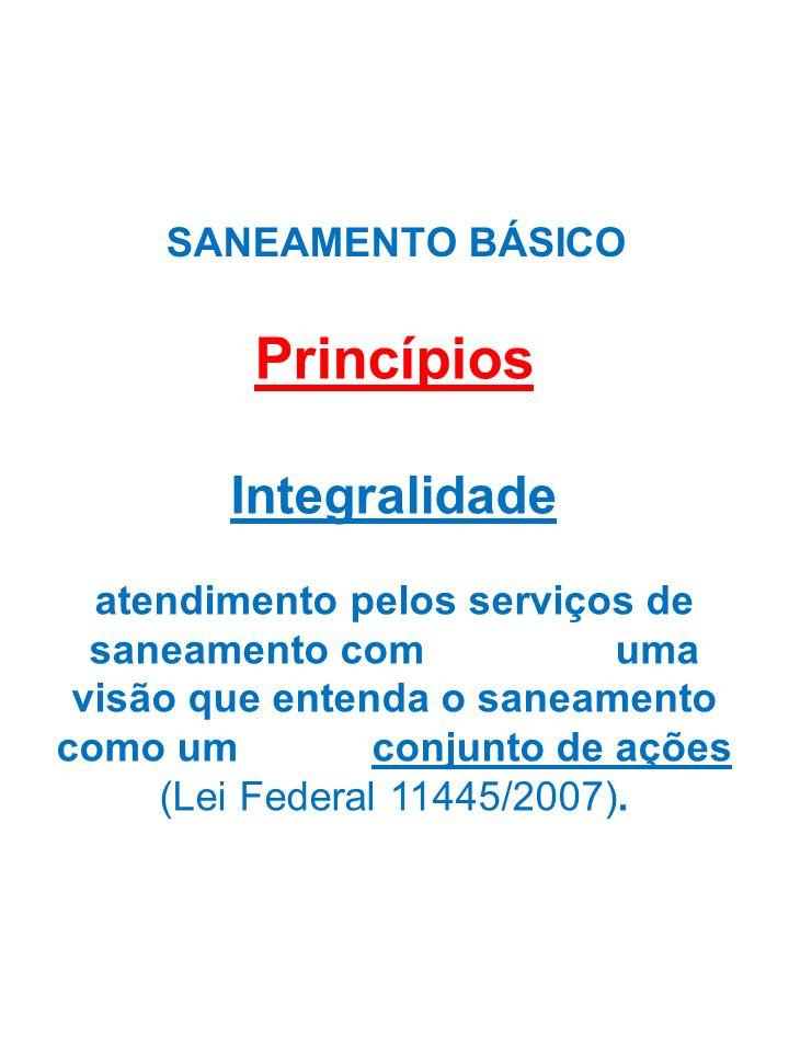 SANEAMENTO BÁSICO Princípios Integralidade atendimento pelos serviços de saneamento com uma visão que entenda o saneamento como um conjunto de ações (