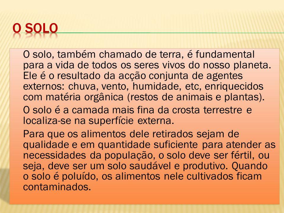 Alteração das características naturais do solo através da deposição, descarga, infiltração ou acumulação neste de produtos poluentes.