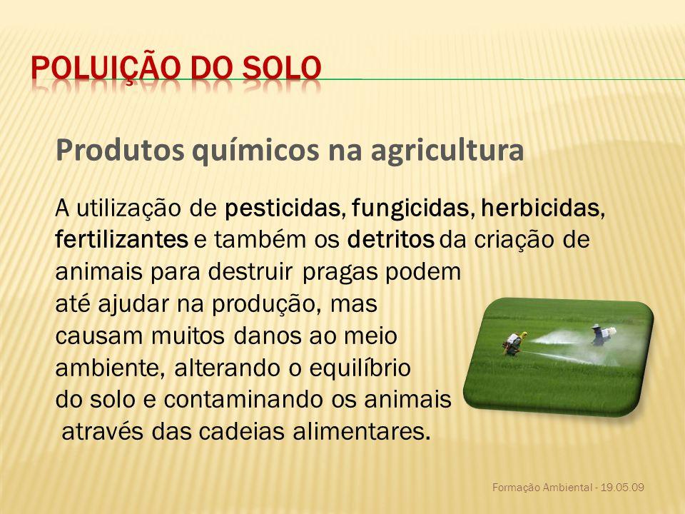 Formação Ambiental - 19.05.09 Produtos químicos na agricultura A utilização de pesticidas, fungicidas, herbicidas, fertilizantes e também os detritos