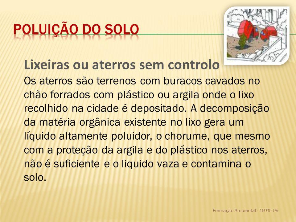 Formação Ambiental - 19.05.09 desflorestação Também a desflorestação descontrolada das florestas pode originar graves consequências no equilíbrio do planeta.