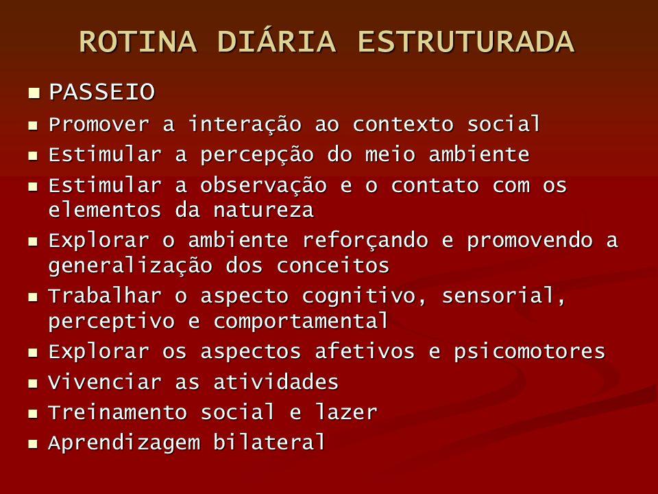 ROTINA DIÁRIA ESTRUTURADA PASSEIO PASSEIO Promover a interação ao contexto social Promover a interação ao contexto social Estimular a percepção do mei
