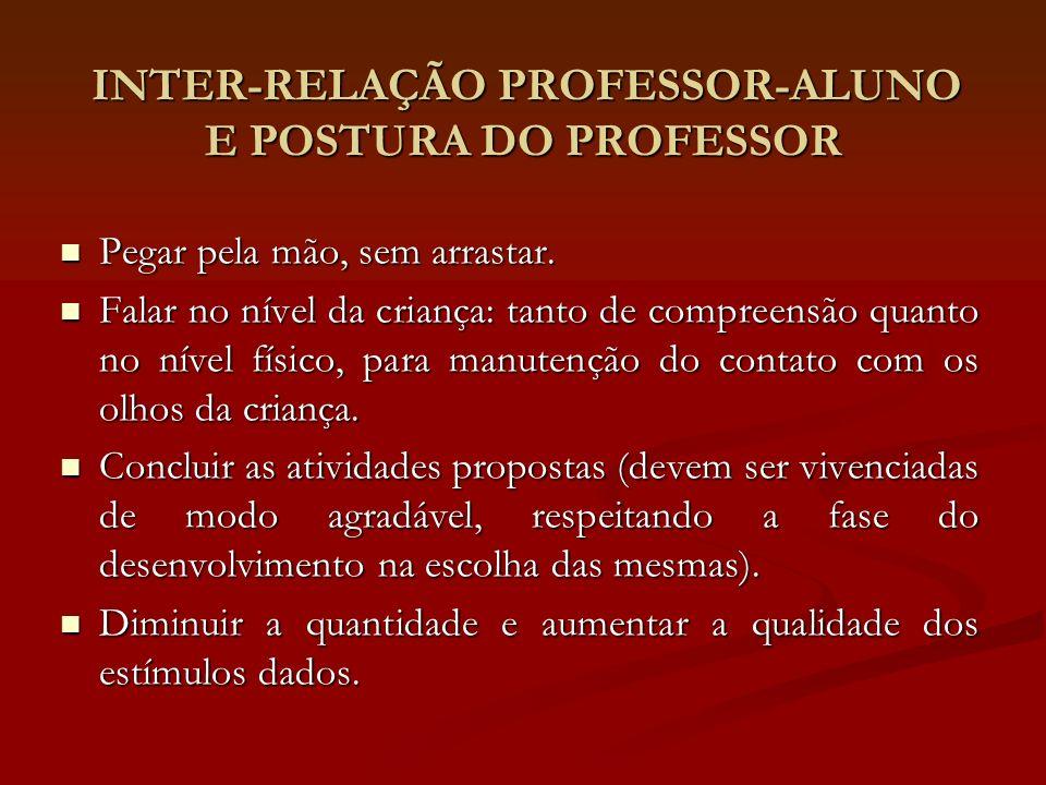 INTER-RELAÇÃO PROFESSOR-ALUNO E POSTURA DO PROFESSOR INTER-RELAÇÃO PROFESSOR-ALUNO E POSTURA DO PROFESSOR Pegar pela mão, sem arrastar. Pegar pela mão
