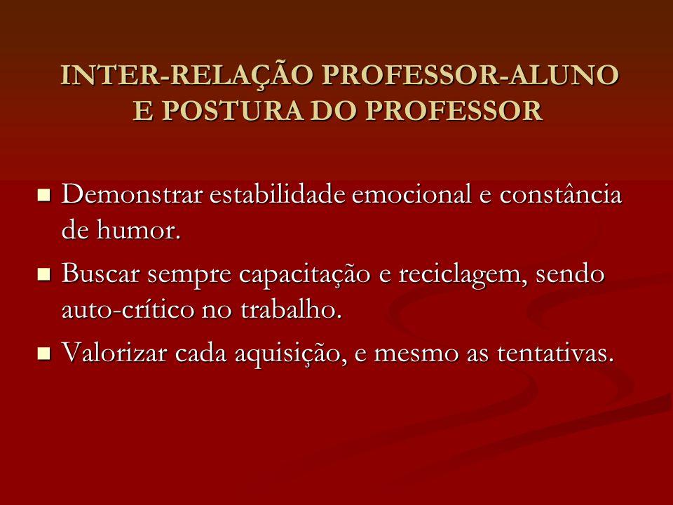 INTER-RELAÇÃO PROFESSOR-ALUNO E POSTURA DO PROFESSOR INTER-RELAÇÃO PROFESSOR-ALUNO E POSTURA DO PROFESSOR Demonstrar estabilidade emocional e constânc